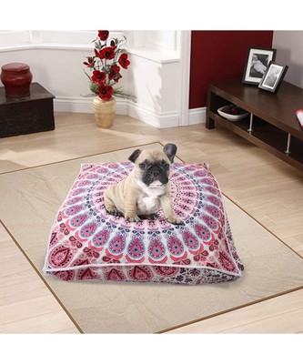 Indian Large Mandala Dog Bed Cotton Pet Cushion Ethnic Meditation Dog Pillow Bed (Cover Only)