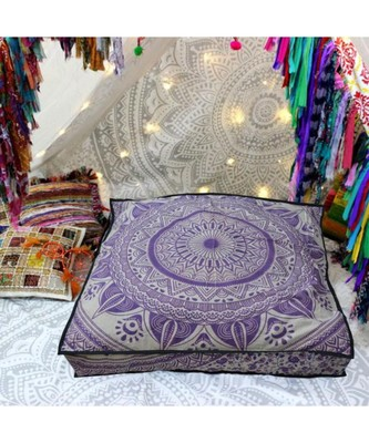 Ethnic Mandala Pet Bed Cushion Cotton Meditation Throw Pillows Large Dog Bedding (Cover Only)