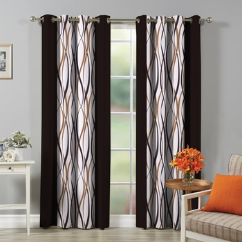 FABZI BROWN PRINTED POLYESTER WINDOW CURTAINS SET OF 2 PIECES (WIDTH 4 FT X LENGTH 5 FEET)