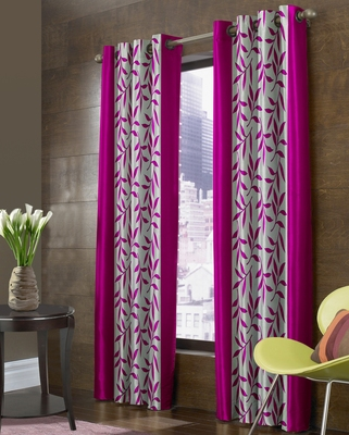 FABZI PINK PRINTED POLYESTER  WINDOW CURTAINS SET OF 2 PIECES (WIDTH 4 FT X LENGTH 5 FEET)