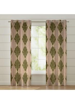 Fabzi Set of 2 Window Semi-Transparent Eyelet Polyester Curtains Green