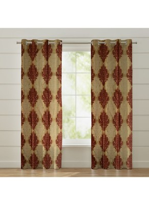 Fabzi Set of 2 Window Semi-Transparent Eyelet Polyester Curtains Maroon