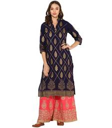 Buy Navy Blue Cotton Block Prints Long  Straight Kurti kurtas-and-kurtis online