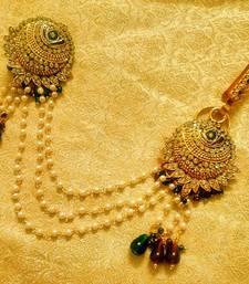 Buy Maroon green bridal saree pin brooch juda wedding jewellery women-ethnic-wear online
