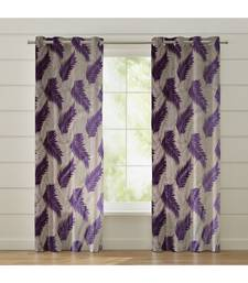 Fabzi Set of 3 Window Semi-Transparent Eyelet Polyester Curtains Violet