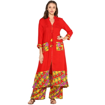 Red Rayon Digital Prints Long  long dress Kurti