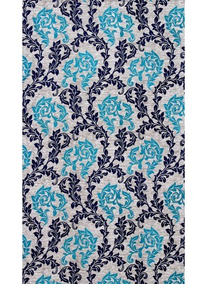 FABZI BLUE PRINTED POLYESTER  WINDOW CURTAINS SET OF 2 PIECES (WIDTH 4 FT X LENGTH 5 FEET)