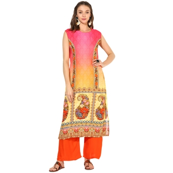 Multi Rayon Digital Prints Long  Straight Kurti