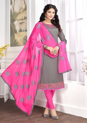 Grey embroidered cotton salwar with dupatta