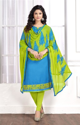 Sky-blue embroidered cotton salwar with dupatta