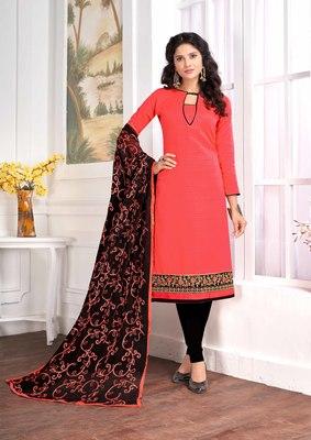 Dark-peach embroidered cotton salwar with dupatta