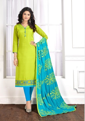 Light-green embroidered cotton salwar with dupatta