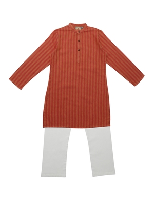 Orange Ethnic Wear Kids Cotton Kurta Pyjama Set For Boys