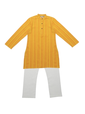 Orange And Yellow Ethnic Wear Kids Cotton Kurta Pyjama Set For Boys