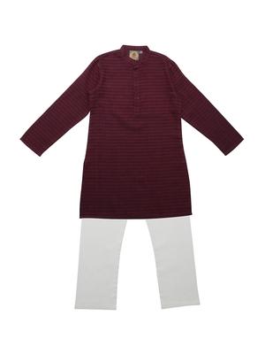 Maroon Ethnic Wear Kids Cotton Kurta Pyjama Set For Boys