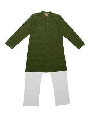 Green Ethnic Wear Kids Cotton Kurta Pyjama Set For Boys
