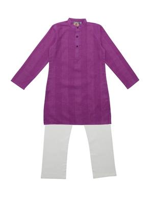 Pink Ethnic Wear Kids Cotton Kurta Pyjama Set For Boys