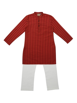 Red And Rust Ethnic Wear Kids Cotton Kurta Pyjama Set For Boys