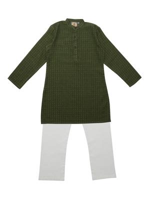 Mehendi Green Ethnic Wear Kids Cotton Kurta Pyjama Set For Boys