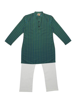Green Ethnic Wear Kids Cotton Kurta Pyjama Set For Boys