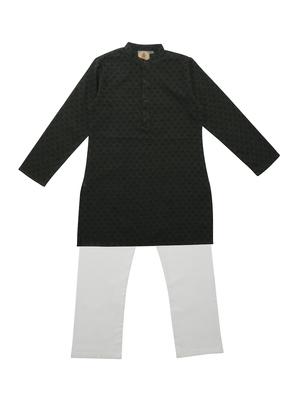 Green And Blue Ethnic Wear Kids Cotton Kurta Pyjama Set For Boys
