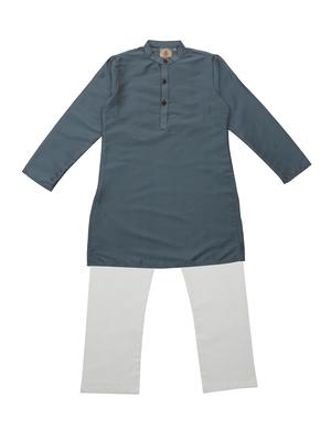 Blue And Gold Ethnic Wear Kids Cotton Kurta Pyjama Set For Boys