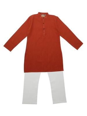 Orange Ethnic Wear Kids Cotton Kurta Pyjama Set For Boys