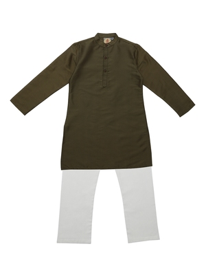 Green And Gold Ethnic Wear Kids Cotton Kurta Pyjama Set For Boys