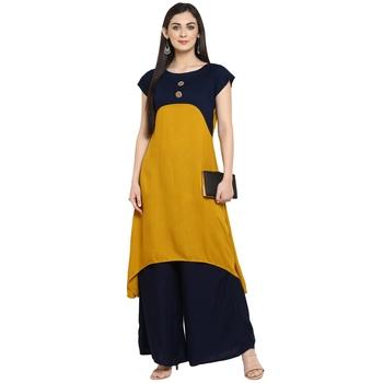 Mustard Rayon Plain Stitched Kurti
