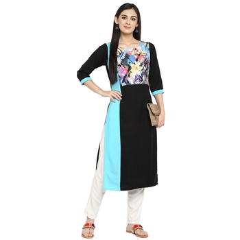 Multicolor Crepe Printed Stitched Kurti