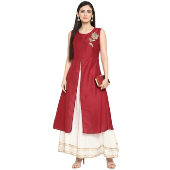 Red Polyester Plain Stitched Kurti