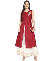 Red Polyester Plain Stitched Kurti