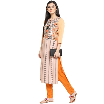 Orange Crepe Printed Stitched Kurti