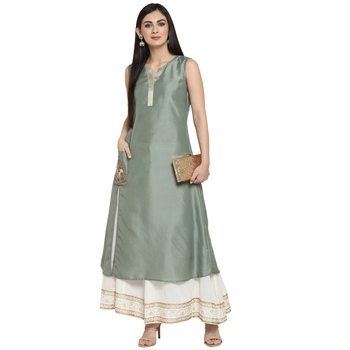 Green Polyester Plain Stitched Kurti