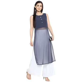 Grey Georgette Plain Stitched Kurti