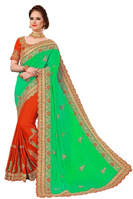 Parrot green embroidered art silk saree with blouse