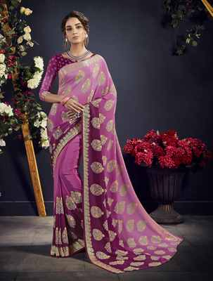 Purple printed crepe saree with blouse