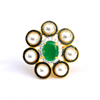 Pearl Emerald Cocktail Ring
