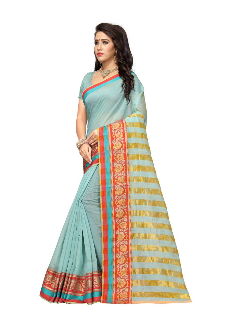 d79c756557 Light sky blue woven cotton silk saree with blouse - Adyah ...