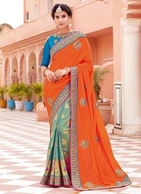 5ed204c88887ad Monjolika Fashion Orange embroidered silk saree with blouse ...