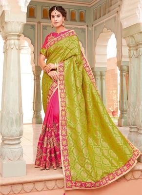 76e611dcdbab60 Monjolika Fashion Parrot green embroidered silk saree with blouse ...