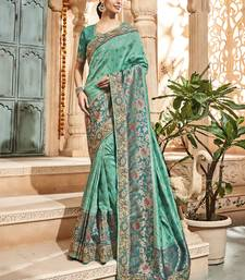 Buy Monjolika Fashion Teal woven silk saree with blouse wedding-saree online