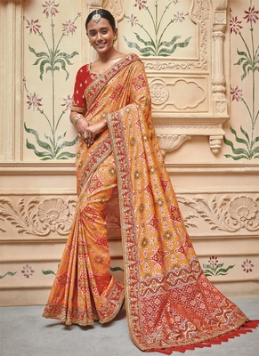 8039d060c1 Monjolika Fashion Orange woven silk saree with blouse - Monjolika ...