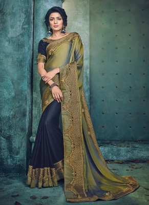 Monjolika Fashion Olive plain silk blend saree with blouse