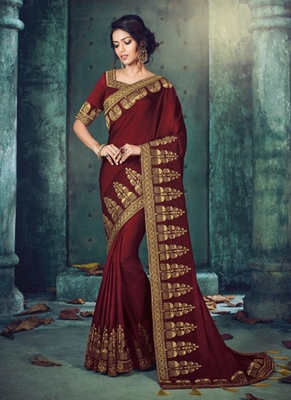 016d32bbe97140 Monjolika Fashion Maroon plain silk saree with blouse - Monjolika ...