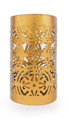 H & W Copper Metal Table Candle Holder for Diwali- Set of 1 (7 x 7 x 11.5 cm)