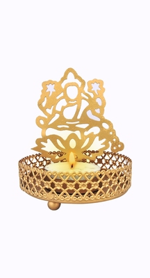 H & W Gold Metal Light Candle Holder for Diwali- Set of 2 (7 x 7 x 9.5 cm)