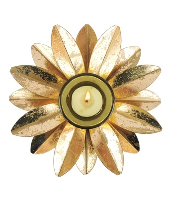 H & W Gold Metal Tealight Holder for Diwali- Set of 1 (19 x 19 x 5 cm)