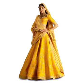 Amazing Yellow Embroidered Wedding Designer Lehenga Choli Dupatta Set Specially For Haldi Function