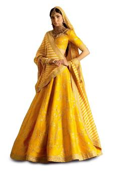7b8bbe9135 Amazing Yellow Embroidered Wedding Designer Lehenga Choli Dupatta Set  specially for Haldi Function